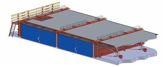 سیستم قالب بندی ساختمانهای بتن مسلح با استفاده از میز پرنده